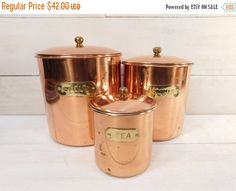 30% Off Sale  Vintage Copper Canister Set Set of 3 by JunketteLove
