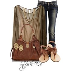 sheer top & jeans.  Sheer top good look for me just wear a tank under it