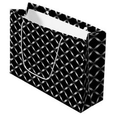 "Shiny black Large Gift Bag Shiny black diamond tiles on all sides.  Shown on a black background. Change the background color for a different look. Click on the ""Customize"" button for more options.  Artwork and design buy Karlajkitty"