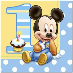 Our pattern-matching Mickey's 1st Birthday dinner plates feature an adorable image of baby Mickey Mouse posing with the number one. Description from thepartysupplyzone.com. I searched for this on bing.com/images