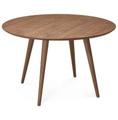 Kleine, ronde, volledig notenhouten tafel.