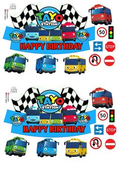 Bus Cake, Tayo The Little Bus, Transportation Party, Happy Birthday Cake Topper, Mickey Mouse Birthday, Doraemon, Cartoon Wallpaper, Cupcake Toppers, Hello Kitty