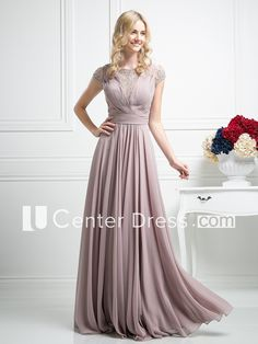 A-Line Scoop-Neck Short Sleeve Chiffon Illusion Dress With Beading And Pleats