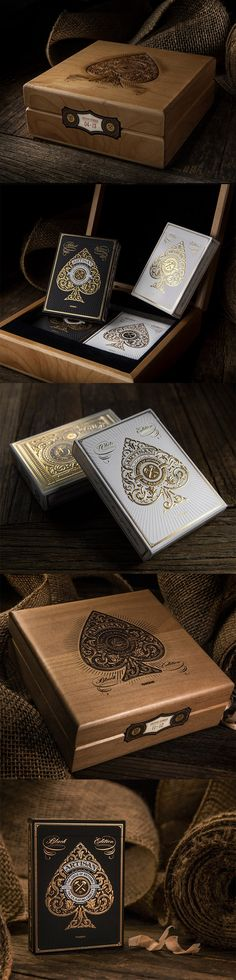Beautifully packaged Artisan Playing Cards (foil stamped and embossed tuck cases) in a an etched wooden box.