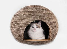 Cardboard Cat House: Cat Scratcher + Play House - Could be more great idea? - Meow-Cat.com