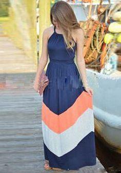 Blue Wave Striped Pleated Halter Sleeveless Chiffon Maxi Dress