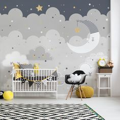The Floating Clouds Mural is an ideal finishing touch for a kids bedroom or nursery. Easy to apply, the high quality Mural will look great when used to decorate. Kids Wall Murals, Nursery Wall Murals, Bedroom Murals, Nursery Room, Kids Bedroom, Baby Boy Bedroom Ideas, Clouds Nursery, Baby Room Themes, Baby Boy Rooms