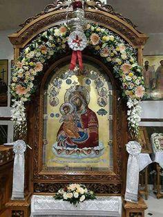 Icon orthodox Church Flowers, Orthodox Icons, Medieval Art, Byzantine, Holy Spirit, Burlap Wreath, Altar, Funeral, Jesus Christ