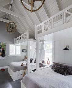 Looking for shared bedroom ideas for your kids? Shared bedrooms take a bit of extra planning, but the result can be a room that will create lasting memories. Bunk Rooms, House, Custom Bunk Beds, Bed, Home, Country Cottage Decor, Bedroom Loft, Bedroom Furniture, Beach Cottage Decor
