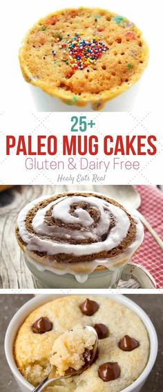 25+ Paleo Mug Cake Recipes (Gluten Free & Dairy Free)- These paleo mug cake recipes are the perfect healthy dessert when you just want a single serving of something sweet! There are a huge variety of recipes using coconut flour, almond flour, almond butter and more. via @healyeatsreal