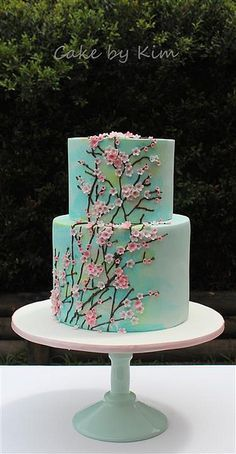 blossom cake -cherry blossom cake - , Cake Decorating Ideas Without Fondant mothers day Gorgeous Cakes, Pretty Cakes, Cute Cakes, Amazing Cakes, Cake Cookies, Cupcake Cakes, Fondant Icing, Cherry Blossom Party, Cherry Blossoms