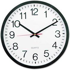 Universal Round Wall Clock, 12-5/8 inch dia., Black