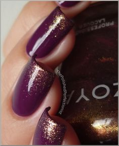 I'm in love with this color combo. Why did I never think of this. Berries and gold. #nailpolish