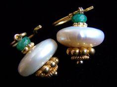 Freshwater Pearl and Emerald Earrings in Bali gold Vermeil by pinkowljewelry