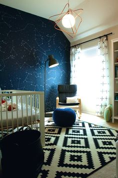 Star mural and geometric pattern - modern nursery design