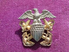 $9.99 - For Sale - Last Chance - Sterling Silver and 10k Gold Navy Officers Badge - Made by H-H - Vintage Pin - Hat Badge