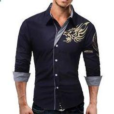 QINGYU Men's Long-Sleeved Shirt Dragons Men Casual Slim Lapel Large Size Shirt