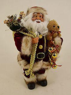 Dekobote,Deko Weihnachtsmann stehend H 30 cm Nikolaus Santa Claus Figur bordeaux