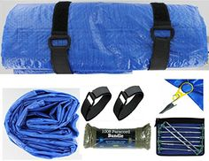 VAS Deluxe Campers Blue 9X12 Tarp Kit 6  With 4 Super Snaps Grommets  8 10 Green TTop Steel Stakes Stake Bag  100 OD Green Paracord -- Want to know more, click on the image.