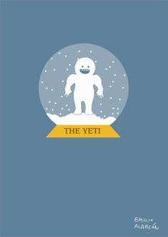 The Yeti inside a snow globe. Illustration by Emilio Alarcón Christmas Cards Drawing, Emilio, Best Vibrators, White Elephant, Winter Is Coming, Winter Snow, Snow Globes, Diy And Crafts, I Am Awesome