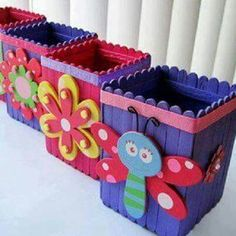 Diy wood crafts for kids popsicle sticks 38 Super ideas Ice Cream Stick Craft, Popsicle Stick Art, Popsicle Crafts, Craft Stick Crafts, Kids Crafts, Easy Crafts, Diy And Crafts, Arts And Crafts, Craft Ideas