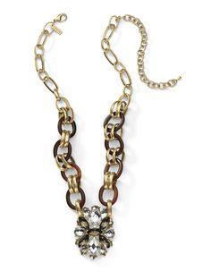 Tortoise Links Marquise Necklace $32 http://www.cookielee.biz/MaureenLedon