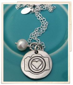 Beautiful I Heart Faces Hand-Stamped Camera Charm Necklace. #jewelry #camera