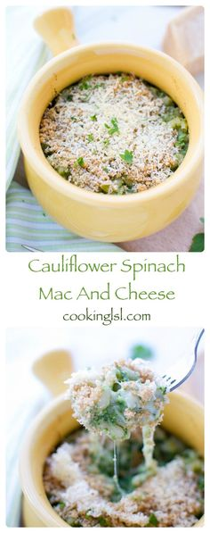Cauliflower Spinach Mac And Cheese