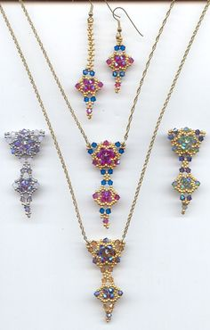 capri blue, fuchsia, some AB? and gold..................... Crystal Stitching book project Bellagio Cristal Pendant by Nikia, $18.00