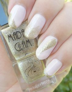 Beautiful color combo! Nail design using #InLove and #SandyBeach by Madam Glam vegan nail polishes