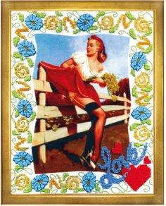 Retro. Pin-up style girl. Bead embroidery kit DIY Gift