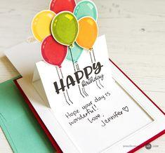 Pop Up Slider Card Video by Jennifer McGuire Ink Birthday Card Pop Up, Creative Birthday Cards, Diy Birthday, Pop Up Karten, Karten Diy, Spinner Card, Slider Cards, Bday Cards, Window Cards