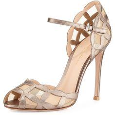 Gianvito Rossi Metallic/Mesh Peep-Toe Sandal ($1,096) ❤ liked on Polyvore featuring shoes, sandals, heels, gold, metallic sandals, metallic high heel sandals, laser cut sandals, ankle strap sandals and peep toe heeled sandals
