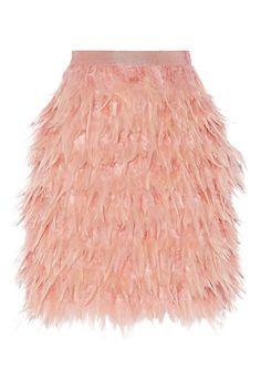 Guía de Estilo: Mix&Match en primavera. Falda de plumas rosa, de DKNY (350 €).