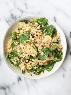 Grain-free Cauliflower Rice Salad made with 7 ingredients & ready in 10 minutes. A healthy and easy lunch that is vegan and gluten-free.