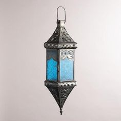 One of my favorite discoveries at WorldMarket.com: Small Blue Square Hanging Lantern