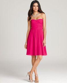 Silk Georgette Ruched Bustier Bridesmaid Dress