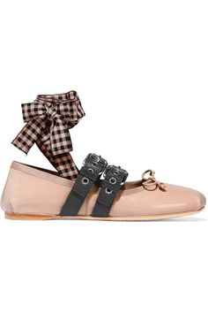Miu Miu | Lace-up patent-leather ballet flats