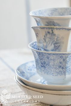 Blue and White China Blue Dishes, White Dishes, Blue And White China, Blue China, Blue And White Dinnerware, Miss Mustard Seeds, Decorated Jars, White Cottage, China Dinnerware