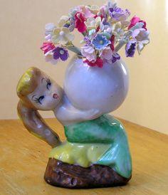 vintage Mermaid figurine holding bubble hand painted porcelain vase 50's Japan via Etsy.