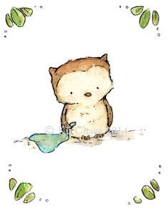 An adorable little prince or princess of an owl is cheerfully waiting with a baby blanket for just the right friend to come along and take them