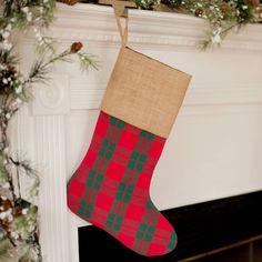 Personalized Holiday Plaid Christmas Stocking