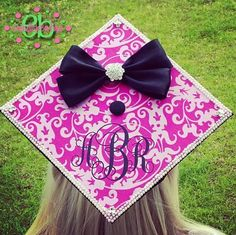 MY cap will have a bow on it! MONOGRAM VINYL DECAL for Graduation Cap  by embellishboutiquellc