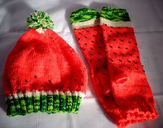 Ravelry: winter-knitting's Watermelon Slice Socks made into fingerless gloves and a hat. hat kids ravelry 92 Awesome Knit And Crochet Gift Ideas That Will Help You Prepare For Winter Crochet Socks, Crochet Gifts, Knitting Socks, Knit Crochet, Knitted Hats Kids, Knitting For Kids, Watermelon Outfit, Watermelon Slices, Crochet Woman