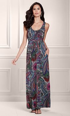 Love these colors - Soma Sleeveless Surplice Tank Dress in Paisley Print - Soma Sweepstakes
