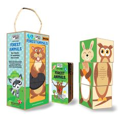 #Sassi Junior: Forest Animals - 3-block tower with a 10-pages coloured book. #eco #friendly #book #game