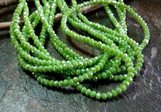 Crystal Rhondelle, 2x3mm, Opaque Gaspeite Luster, Tiaria Crystal, 100 pieces per Strand, 7-8 Inch Strand, Priced per Strand by DragonflyBeadsStudio on Etsy