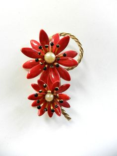 1960 Stunning large flower enamelled and pearls  by RAKcreations