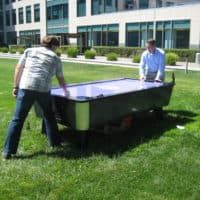 This was an event for a large tech company. They played air hockey in the sunshine! Dunk Tank, Paper Table, Air Hockey, Company Picnic, Picnic Time, Bay Area, Game Ideas, Outdoor Decor, Sunshine
