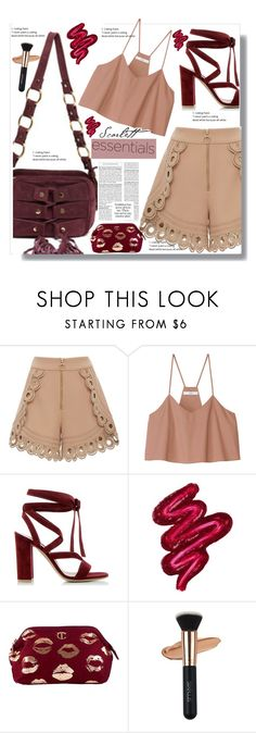 """Khaki Look"" by edy321 ❤ liked on Polyvore featuring self-portrait, TIBI, Gianvito Rossi and Obsessive Compulsive Cosmetics"